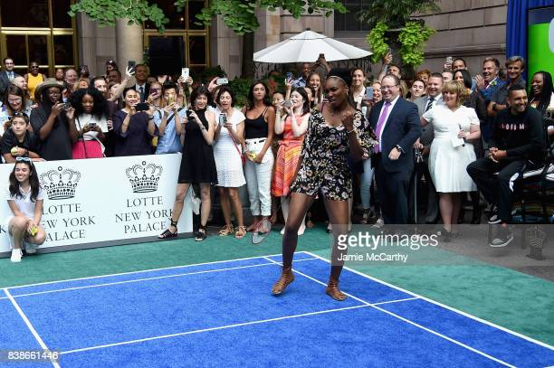Professional tennis player Venus Williams competes during the 2017 Lotte New York Palace Invitational at Lotte New York Palace on August 24 2017 in...