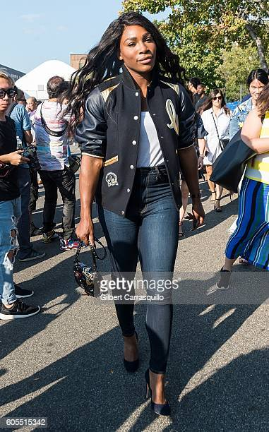 Professional tennis player/designer Serena Williams is seen arriving at Coach 1941 Women's Spring 2017 Show at Pier 76 on September 13 2016 in New...