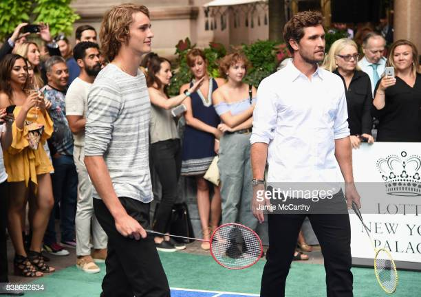 Professional tennis players Alexander Zverev and Mischa Zverev compete during the 2017 Lotte New York Palace Invitational at Lotte New York Palace on...