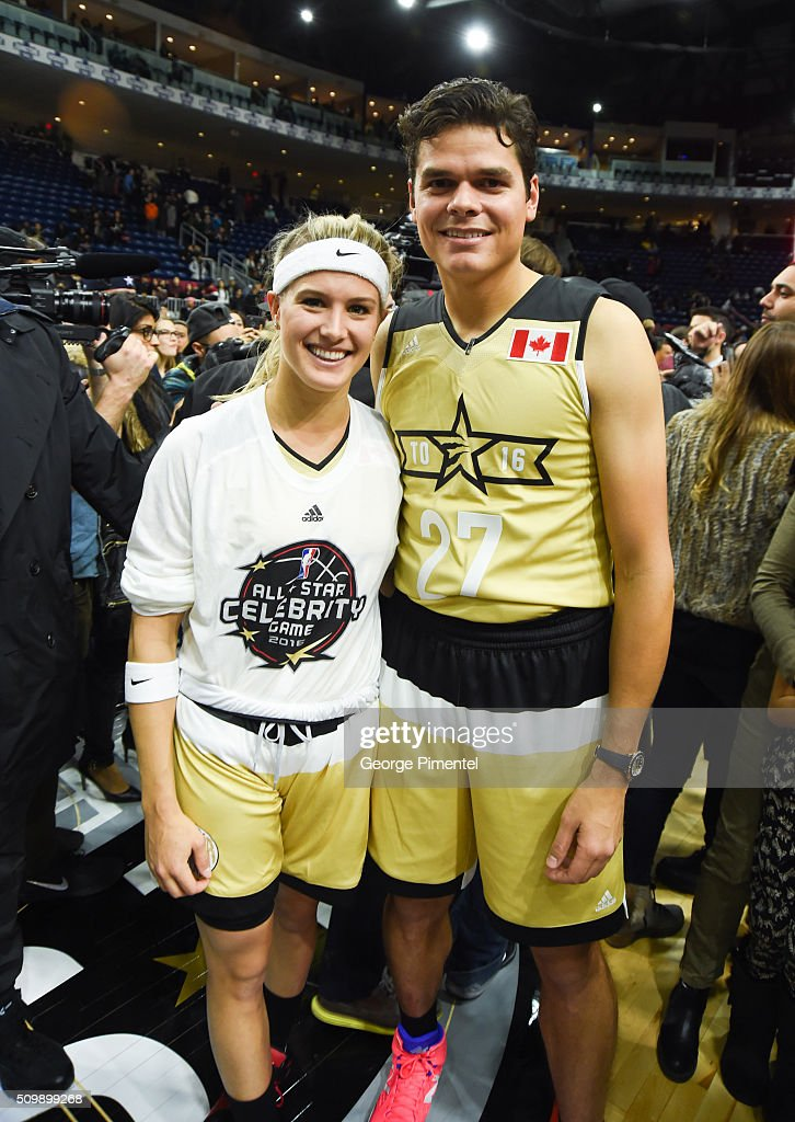 Professional Tennis Players Eugenie Bouchard and Milos Raonic attend the 2016 NBA All-Star Celebrity Game at Ricoh Coliseum on February 12, 2016 in Toronto, Canada.