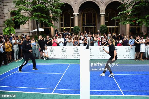 Professional tennis players Nick Kyrgios and Eugenie Bouchard compete during the 2017 Lotte New York Palace Invitational at Lotte New York Palace on...