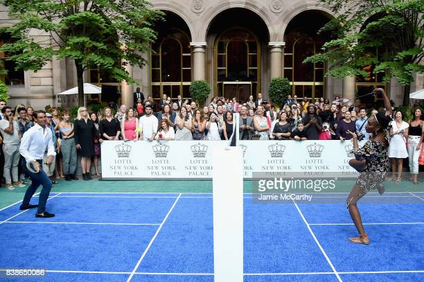 Professional tennis players Rafael Nadal and Venus Williams compete during the 2017 Lotte New York Palace Invitational at Lotte New York Palace on...