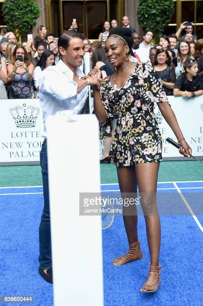 Professional tennis players Rafael Nadal and Venus Williams shake hands during the 2017 Lotte New York Palace Invitational at Lotte New York Palace...