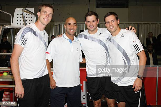 Professional tennis players Sam Querrey, James Blake, Bob Bryan and Mike Bryan attend the Back Office Associates Serving For A Cure benefit at Pier...