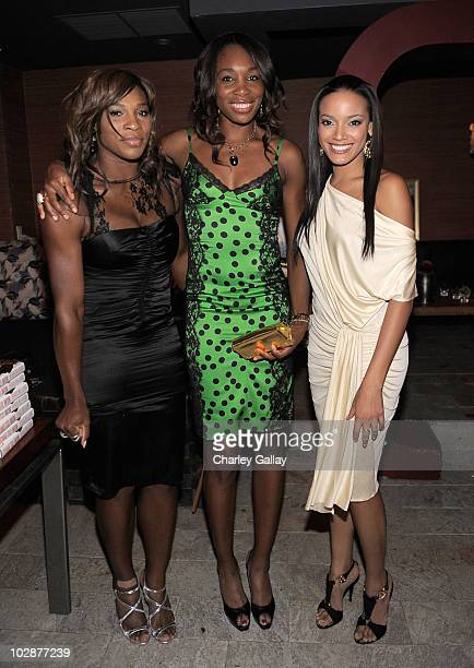 Professional tennis players Serena Williams and Venus Williams and model Selita Ebanks attend the launch Venus Williams' book 'Come To Win' with Los...