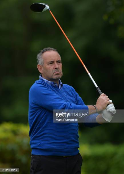 Professional Tom Eckford of Ranfurly Castle Golf Club plays his tee shot to the 16th hole during the Lombard Trophy Scottish Qualifier at Crieff Golf...