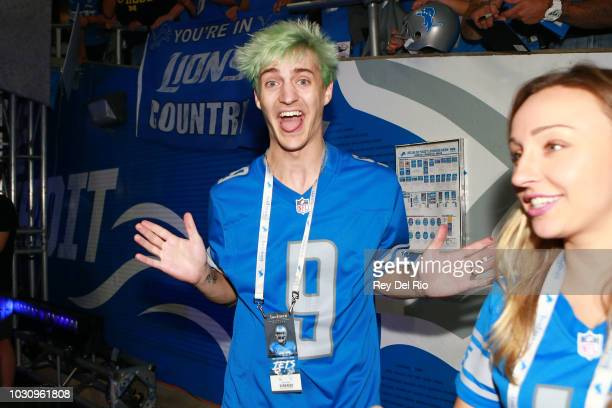 Professional Twitch streamer Tyler 'Ninja' Blevins before the game between the Detroit Lions and the New York Jets at Ford Field on September 10 2018...