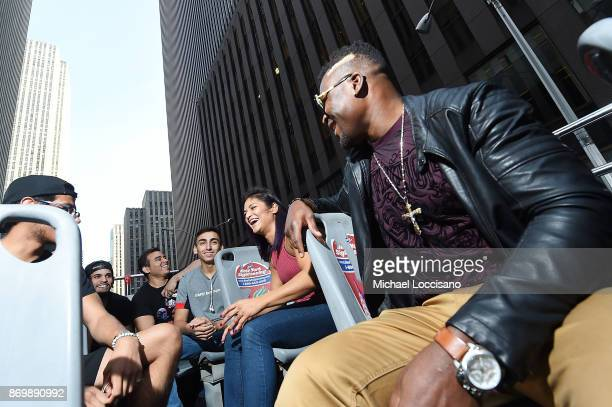 Professional UFC fighters Francis Ngannou And Cynthia Calvillo talk with fans during an ROF Ride in honor of UFC's return To MSG on November 3 2017...