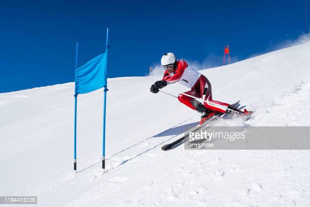 professional winter sports, athlete man during alpine super g skiing training - pole stock pictures, royalty-free photos & images