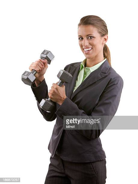 Professional woman holding two dumbbells