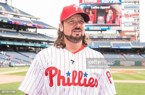 WWE professional wrestler AJ Styles throws out the first pitch at the Milwaukee Brewers Vs Philadelphia Phillies Game at Citizens Bank Park on July...
