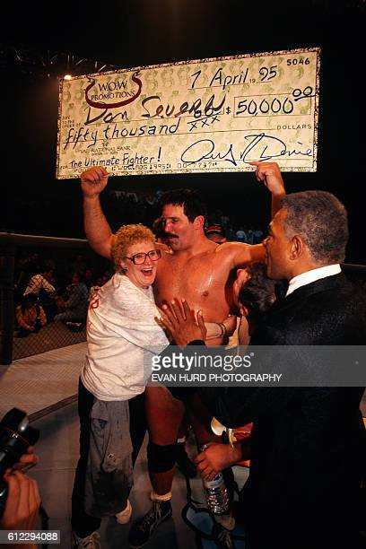 """Professional wrestler Dan """"The Beast"""" Severn wins the 1995 Ultimate Fighting Championship."""