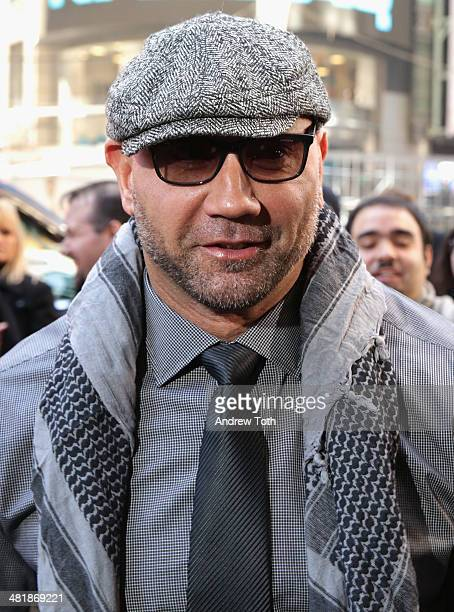 Professional wrestler Dave Batista attends the WrestleMania 30 press conference at the Hard Rock Cafe New York on April 1 2014 in New York City