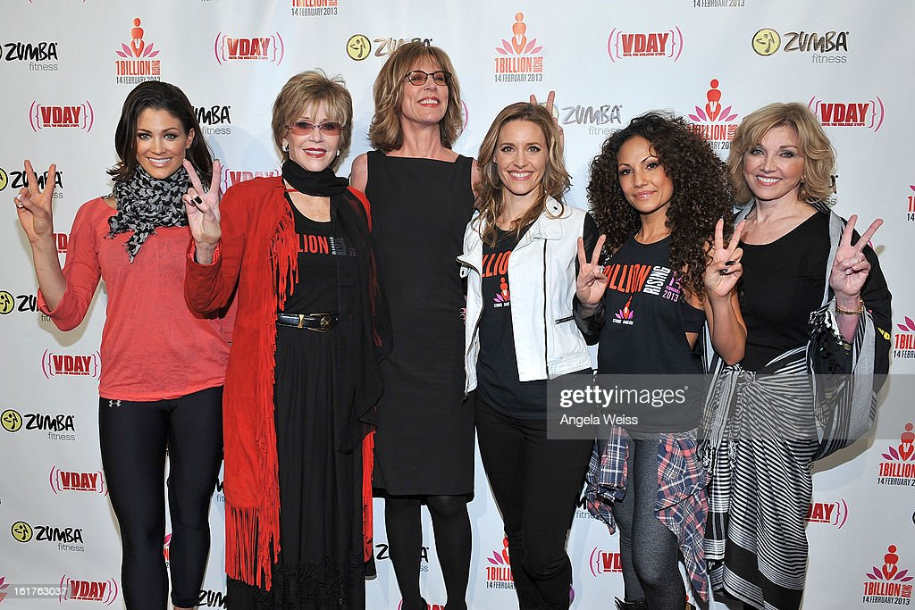 Professional wrestler Eve Torres, actress Jane Fonda, actress Christine Lahti, actress KaDee Strickland, Zumba celebrity instructor Gina Grant and Carole Black attend One Billion Rising-Rise with V-Day and Zumba Fitness, One Billion Rising, a Global Day of Action to End Violence against Women and celebrate V-Day's 15th Anniversary at LA Live on February 14, 2013 in Los Angeles, California.