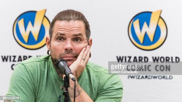 Professional wrestler Jeff Hardy of WWE The Hardy Boyz attends Wizard World Comic Con Philadelphia 2017 Day 1 at Pennsylvania Convention Center on...