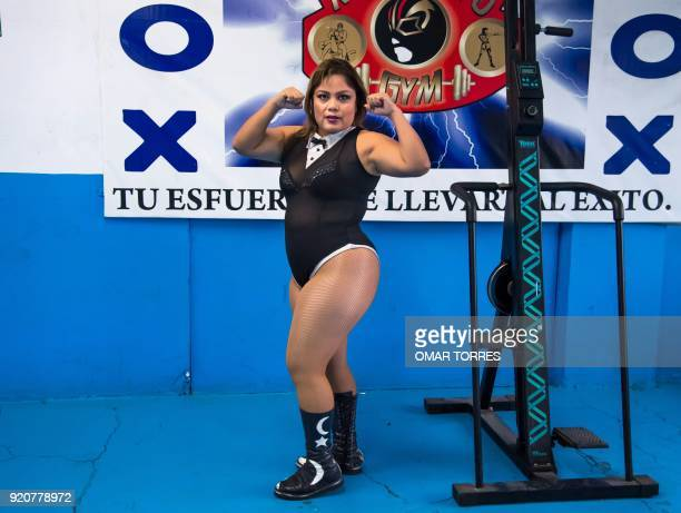 Professional wrestler Luna Magica poses for a photograph in her trainig place on February 09 2018 in Mexico city Mexico / AFP PHOTO / Omar TORRES