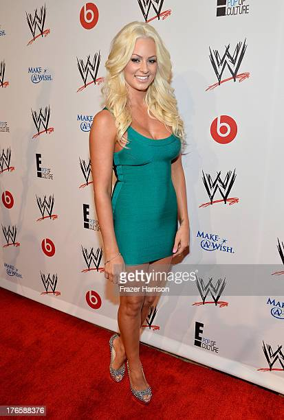 Professional wrestler Maryse Ouellet attends WWE E Entertainment's 'SuperStars For Hope' at the Beverly Hills Hotel on August 15 2013 in Beverly...