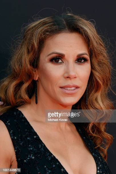 Professional wrestler Mickie James attends the 2018 ESPY Awards Red Carpet Show Live Celebrates With Moet Chandon at Microsoft Theater on July 18...
