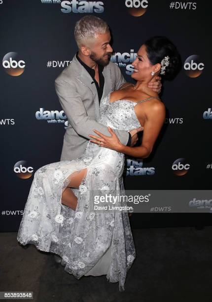 Professional wrestler Nikki Bella and dancer Artem Chigvintsev attend 'Dancing with the Stars' season 25 at CBS Televison City on September 25 2017...