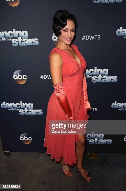 Professional wrestler Nikki Bella poses at 'Dancing with the Stars' season 25 at CBS Televison City on October 23 2017 in Los Angeles California