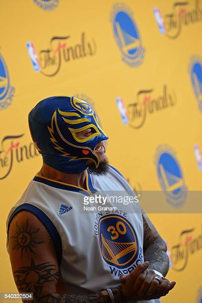 Professional wrestler Rey Mysterio arrives before Game Five of the 2016 NBA Finals between the Cleveland Cavaliers and the Golden State Warriors on...