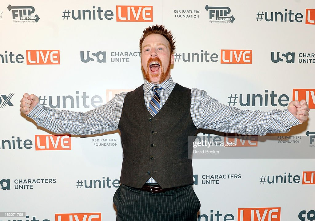 Professional wrestler Sheamus arrives at the 'UniteLIVE: The Concert to Rock Out Bullying' at the Thomas & Mack Center on October 3, 2013 in Las Vegas, Nevada.
