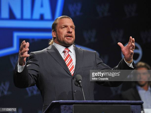 Professional wrestler Triple H attends the WrestleMania XXVII press conference at Hard Rock Cafe New York on March 30 2011 in New York City