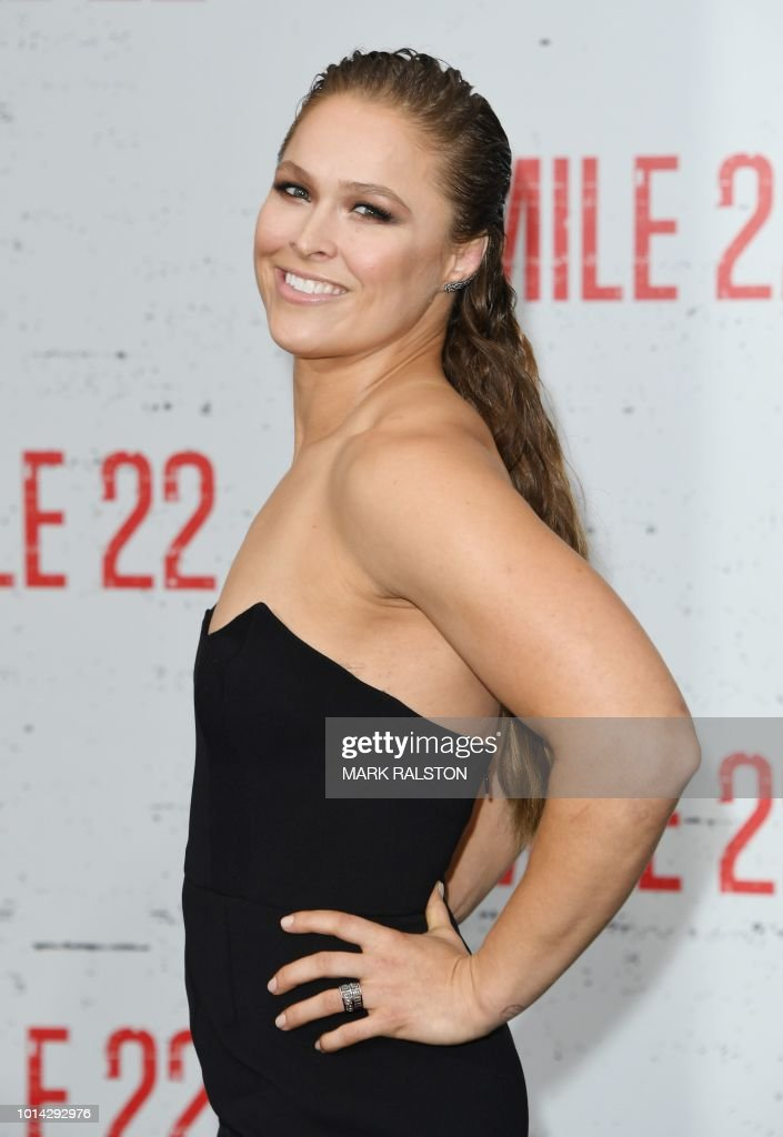 US professional wrestler/actress Ronda Rousey arrives for the premiere of STX Films' 'Mile 22' at the Westwood Village Theatre in Westwood, California on August 9, 2018.