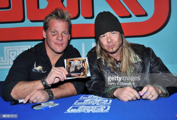 Professional Wrestler/Musician Chris Jericho and Guitarist Rich Ward of the band Fozzy promote 'Chasing The Grail' at JR Music and Computer World on...