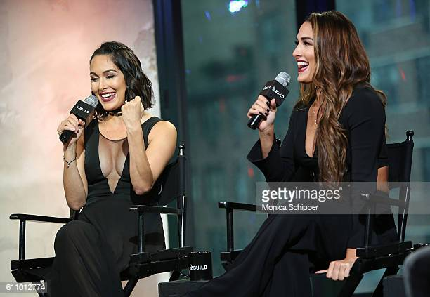 Professional wrestlers and TV personalities Brie Bella and Nikki Bella speak at BUILD Speaker Series Presents WWE superstars Nikki And Brie Bella...