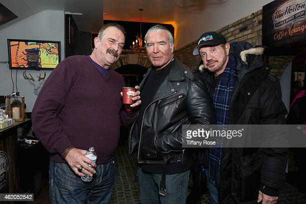 Professional wrestlers Jake 'The Snake' Roberts Scott Hall Diamond Dallas Page attendsthe Tim Hortons Cafe and Bake Shop at Chefdance Media Lounge on...