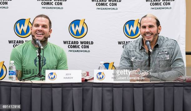 Professional wrestlers Jeff Hardy and Matt Hardy of WWE The Hardy Boyz attend Wizard World Comic Con Philadelphia 2017 Day 1 at Pennsylvania...