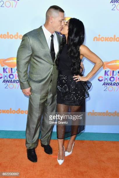 Professional wrestlers John Cena and Nikki Bella at Nickelodeon's 2017 Kids' Choice Awards at USC Galen Center on March 11 2017 in Los Angeles...