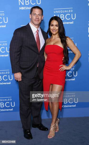 Professional wrestlers John Cena and Nikki Bella attend the 2017 NBCUniversal Upfront at Radio City Music Hall on May 15 2017 in New York City