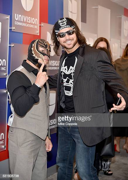 Professional wrestlers Rey Mysterio and Johnny Mundo attend Univision's 2016 Upfront Red Carpet at Gotham Hall on May 17 2016 in New York City