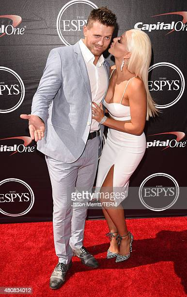 Professional wrestlers The Miz and Maryse Ouellet attend The 2015 ESPYS at Microsoft Theater on July 15 2015 in Los Angeles California