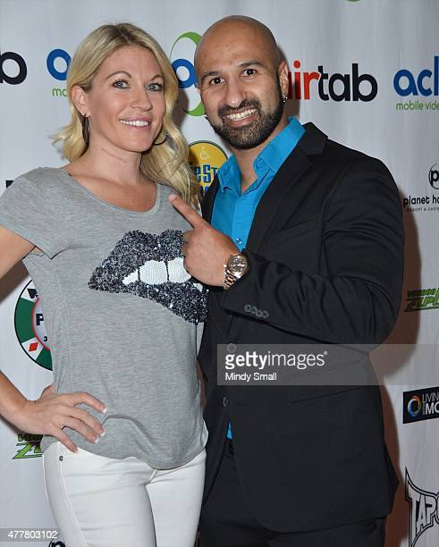 Professional wrestling personality Alicia Webb and professional wrestler Shawn Daivari arrive at the Raising the Stakes for Cerebral Palsy Celebrity...