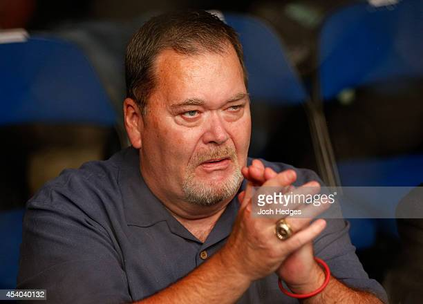 Professional wrestling personality Jim Ross is seen in attendance during the UFC Fight Night event at the BOK Center on August 23 2014 in Tulsa...