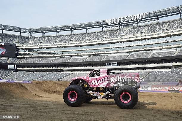 Where Are They Now Portrait of monster truck driver Debrah Miceli posing in her truck Madusa before Monster Jam event at MetLife Stadium Miceli will...