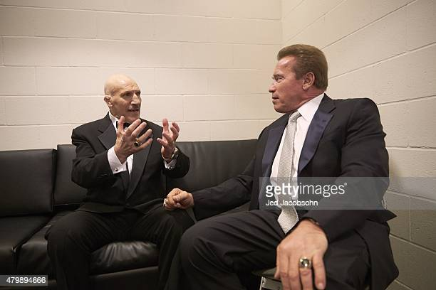 Professional Wrestling: WWE Hall of Fame Induction: Arnold Schwarzenegger talking with Bruno Sammartino before WWE Hall of Fame Induction Ceremony at...