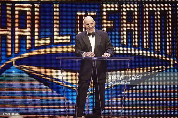Professional Wrestling: WWE Hall of Fame Induction: Bruno Sammartino at podium during ceremony at SAP Center. San Jose, CA 3/28/2015 CREDIT: Jed...