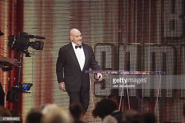 Professional Wrestling: WWE Hall of Fame Induction: Bruno Sammartino approaching podium during ceremony at SAP Center. San Jose, CA 3/28/2015 CREDIT:...