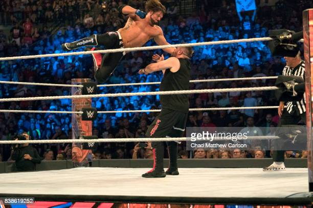 WWE SummerSlam AJ Styles in action vs Kevin Owens at Barclays Center Brooklyn NY CREDIT Chad Matthew Carlson