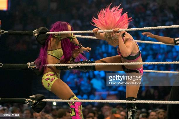 WWE SummerSlam Alexa Bliss in action vs Sasha Banks at Barclays Center Brooklyn NY CREDIT Chad Matthew Carlson