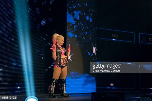 WWE SummerSlam Alexa Bliss making entrance before match vs Sasha Banks at Barclays Center Brooklyn NY CREDIT Chad Matthew Carlson