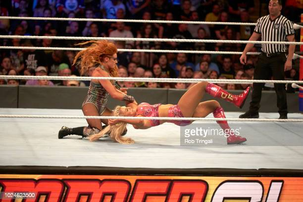 WWE SummerSlam Becky Lynch in action vs Charlotte Flair during event at Barclays Center Brooklyn NY CREDIT Rob Tringali