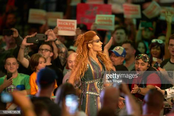 WWE SummerSlam Becky Lynch in ring during event at Barclays Center Brooklyn NY CREDIT Rob Tringali