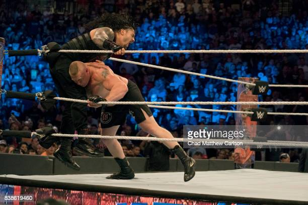 WWE SummerSlam Brock Lesnar in action vs Roman Reigns during match at Barclays Center Brooklyn NY CREDIT Chad Matthew Carlson