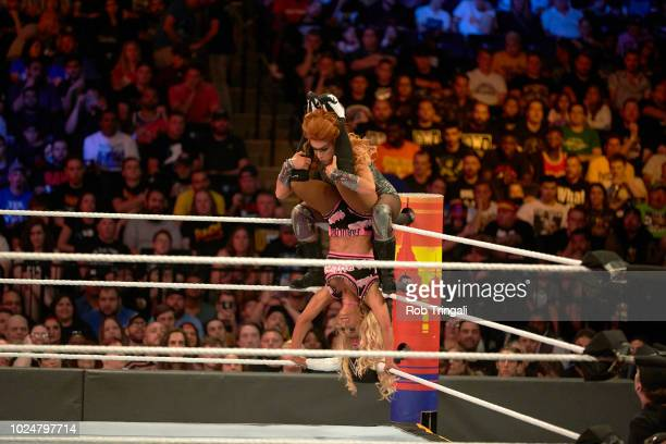 WWE SummerSlam Carmella in action vs Becky Lynch during match at Barclays Center Brooklyn NY CREDIT Rob Tringali