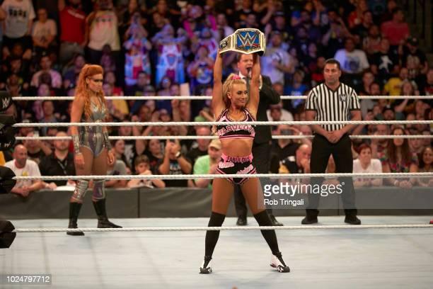 WWE SummerSlam Carmella victorious during match at Barclays Center Brooklyn NY CREDIT Rob Tringali